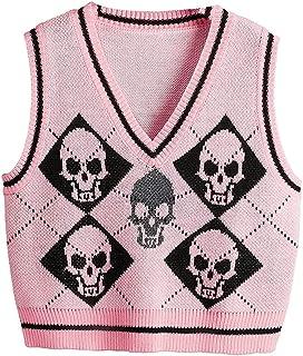 Women Preppy Style Knitted Vest Y2K Gothic Knitted Vest, Skeleton and Argyle Printed Pattern V-Neck Sleeveless Tops