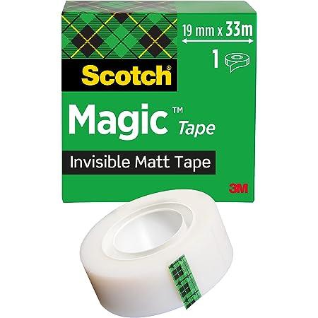 Scotch Magic Ruban Adhésif Invisible - 1 Rouleau - 19mm x 33m - Ruban Adhésif à Usage Général pour la Réparation, l'Etiquetage et la Fermeture de Documents
