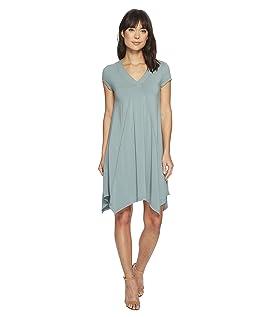 Cotton Modal Spandex Jersey Short Sleeve Pointed Hem T-Shirt Dress