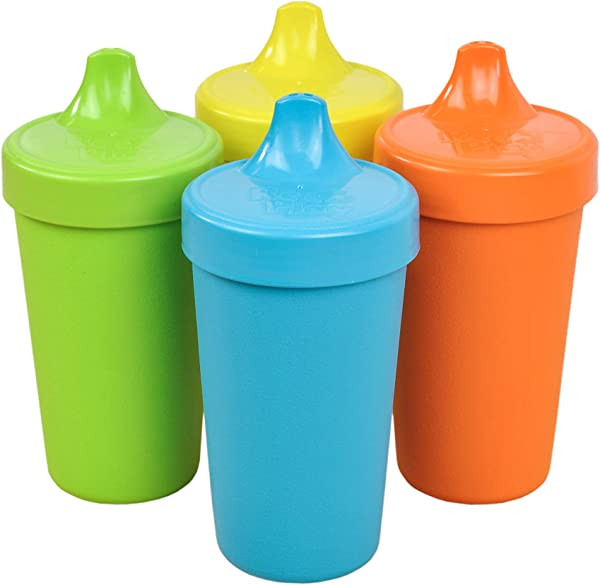 Re Play Made In The USA 4pk No Spill Sippy Cups For Baby Toddler And Child Feeding Sky Blue Orange Yellow Lime Green Spring