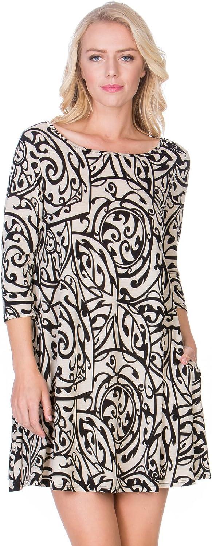 12TREES Women's 3 4 Sleeve Print Side Pocket ALine Comfy Casual Tunic Dress