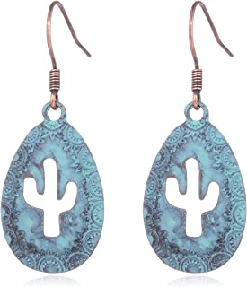 HUIMEI Ethnic Antique Gold Hollow Cactus Earrings for Women