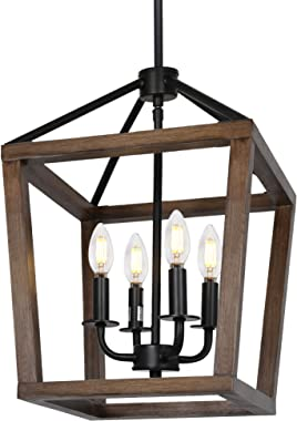4-Light Rustic Chandelier, Adjustable Height Lantern Pendant Light with Oak Wood and Iron Finish, Farmhouse Lighting Fixtures