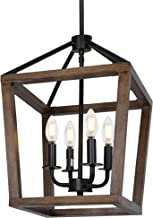 4-Light Rustic Chandelier, Adjustable Height Lantern Pendant Light with Oak Wood and Iron Finish, Farmhouse Lighting Fixtu...