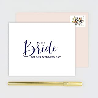 To My Bride on Our Wedding Day Card for Wife - White Card with Navy Blue Calligraphy Print - Blush Pink Envelope