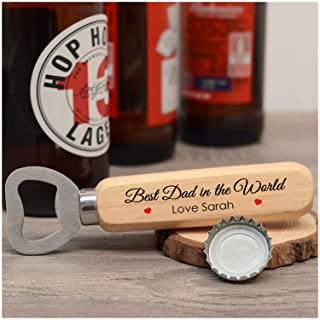 PERSONALISED Best Dad In The World Wooden Bottle Opener Gifts for Dad, Daddy, Grandad, Him - Fathers Day Gift Ideas - ANY NAME Bottle Opener Gifts from Son, Daughter, Children