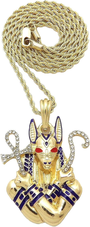 BLINGFACTORY Iced Gold PT Egyptian Anubis Pendant & 18