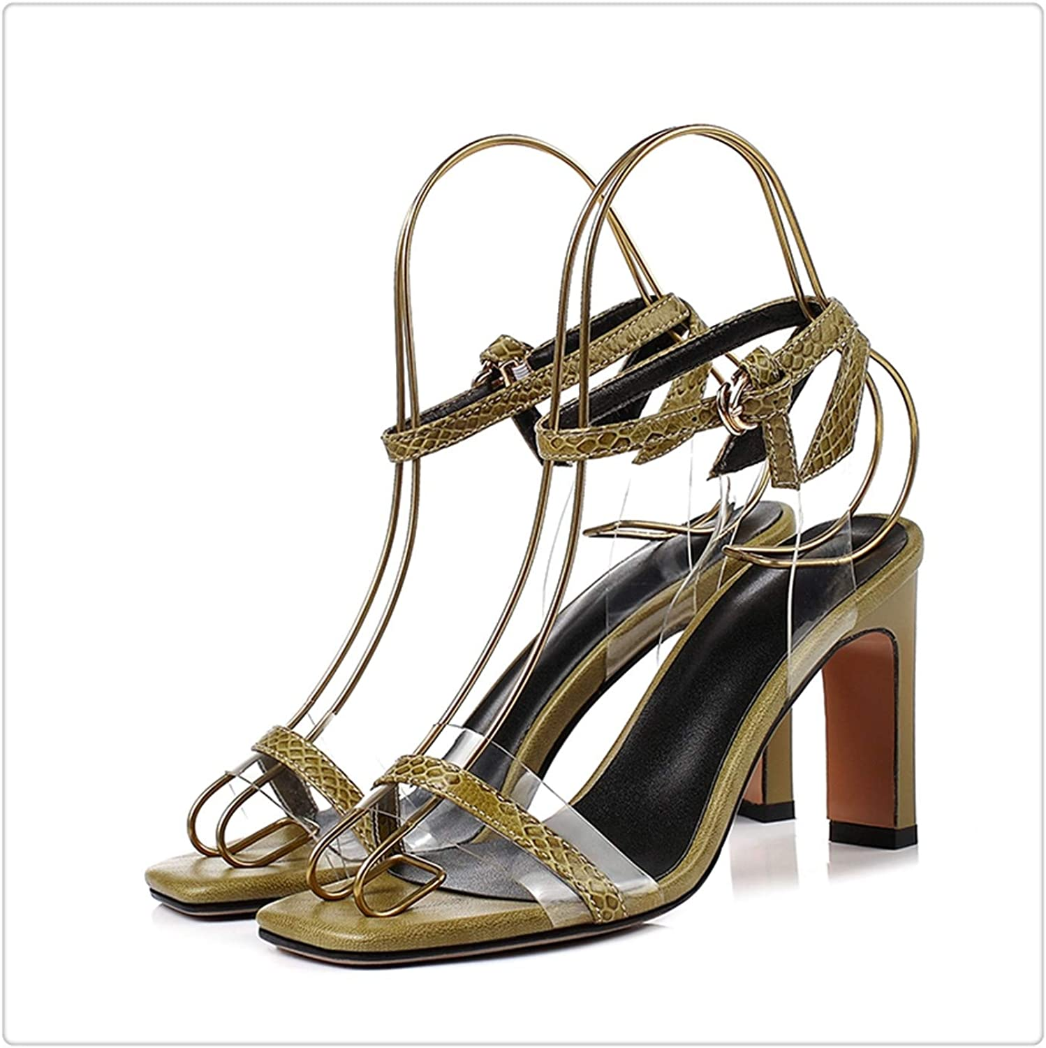 NNHLPO& Genuine Leather Basic Women shoes High Heels Sandals Strange Style shoes Buckle