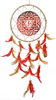 Rooh dream catcher ~ Canvas Om Maroon ~ Handmade Hangings (Can be used as Home Decor Accents, Wall Hangings, Garden, Car, ...