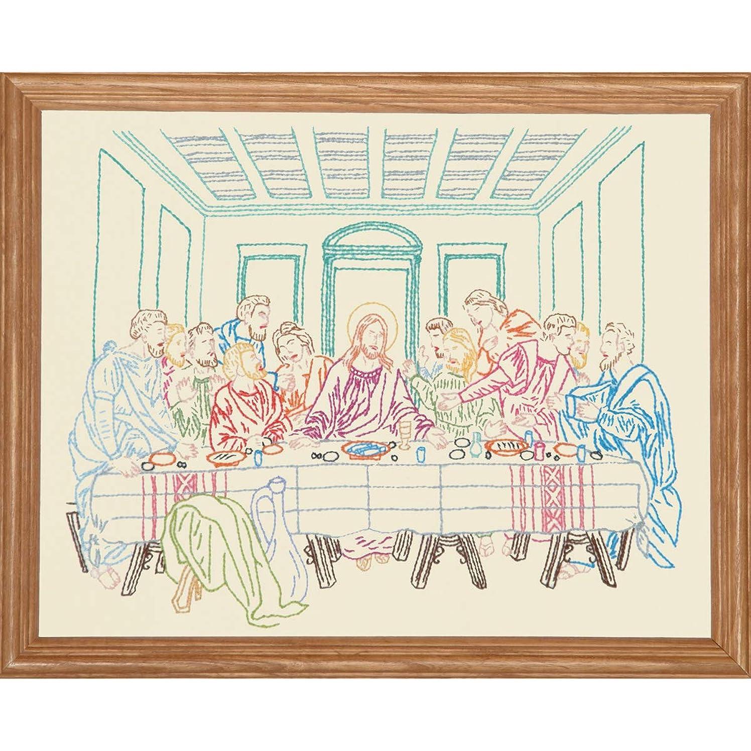 Jack Dempsey Stamped Sampler, 11 by 14-Inch, Last Supper, Antique