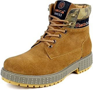Bacca Bucci® Men's Urban Suede Leather Snow Adjustable Lace up for Work Combat Hiking Motorcycle Military Tactical