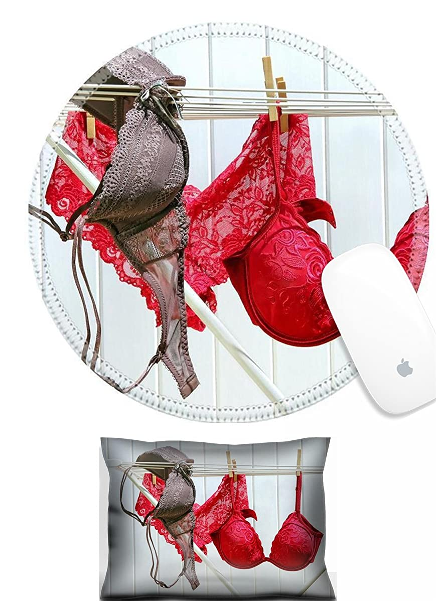 Luxlady Mouse Wrist Rest and Round Mousepad Set, 2pc Colored bras and panties drying on clothesline IMAGE: 4857892
