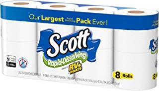 Scott Rapid Dissolve Bath Tissue Made for RVs and Boats (8 Rolls)
