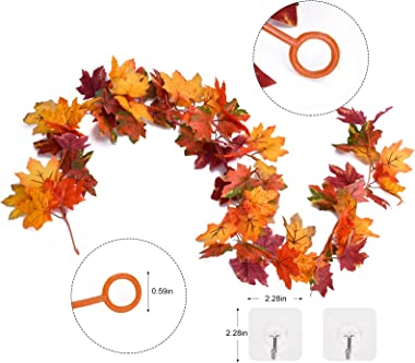 CaseTank 2 Pack Fall Decor Fall Maple Leaf Garland 5.8Ft/Piece Autumn Hanging Vine Artificial Foliage Garland Fall Decoration
