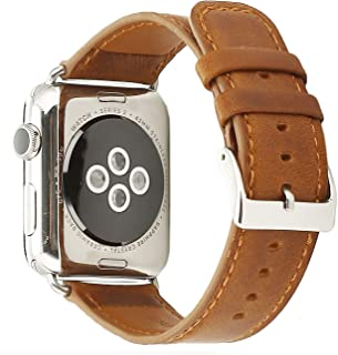 Doboli Compatible with Apple Watch Band 38mm 40mm Genuine Leather Replacement iwatch Bands for Series 4 3 2 Brown