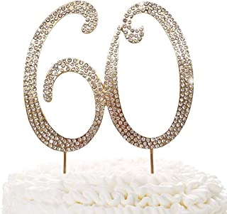 60 Gold Cake Topper | Premium Sparkly Crystal Rhinestones | 60th Birthday or Anniversary Party Decoration Ideas | Quality Metal Alloy | Perfect Keepsake Sixty
