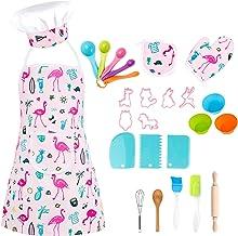 Gidenfly Lot de 26 ustensiles de cuisine pour enfants - Avec tablier, toque, gants de cuisine