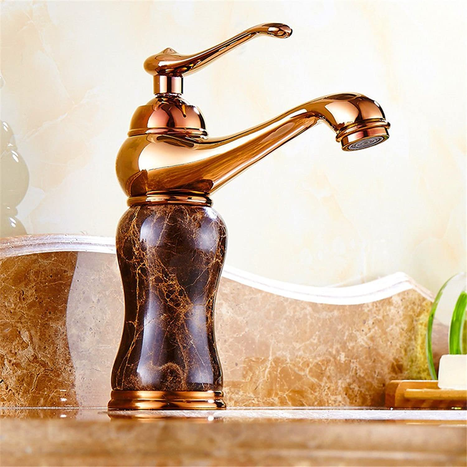 SADASD Modern Bathroom Basin Faucet Copper Sapphire Marble Washbasin Sink Taps Ceramic Valve Single Hole Single Handle Hot and Cold Mixer Tap With G1 2 Hose