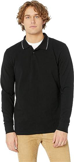 Check Tip Long Sleeve Polo