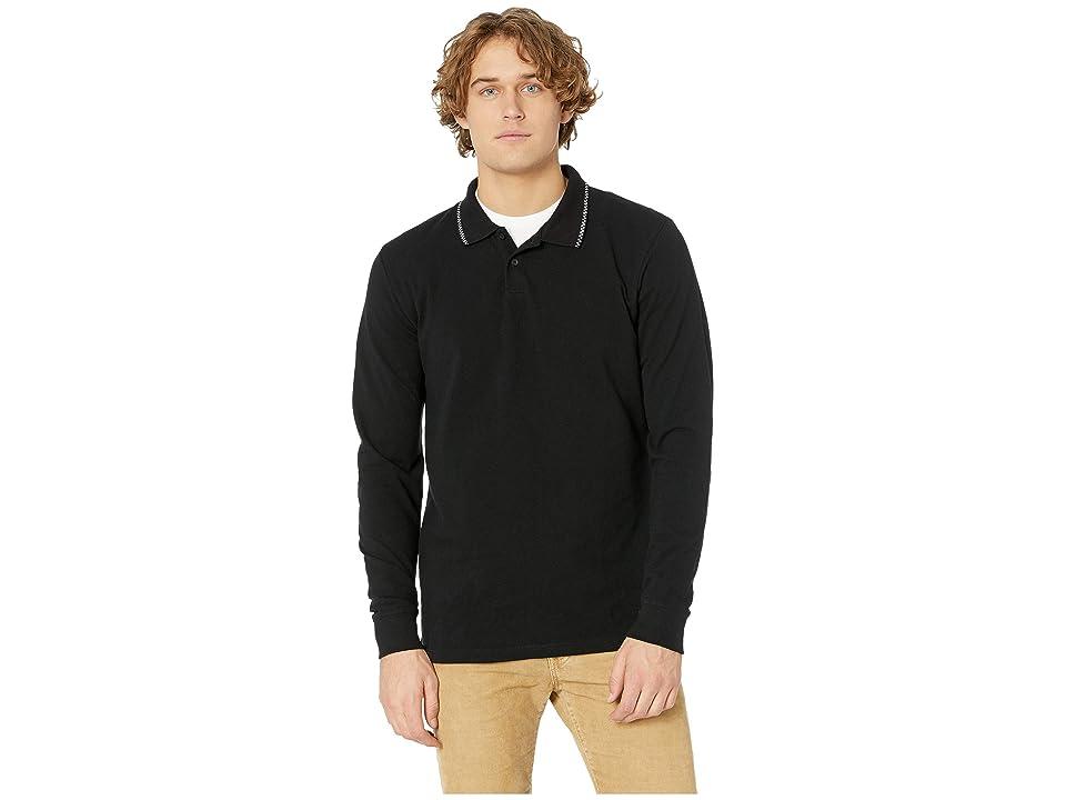 Vans Check Tip Long Sleeve Polo (Black) Men