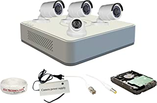 Hikvision 4 Ch HD DVR and 3 Bullet; 1 Dome HD Camera Combo Kit; Include All Require Accessories for 4 Camera Installation