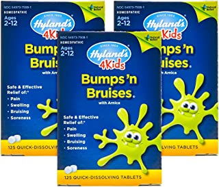 Arnica Tablets for Kids and Baby, Bumps 'n Bruises by Hyland's, Quick Dissolving, 125 Count (Pack of 3)