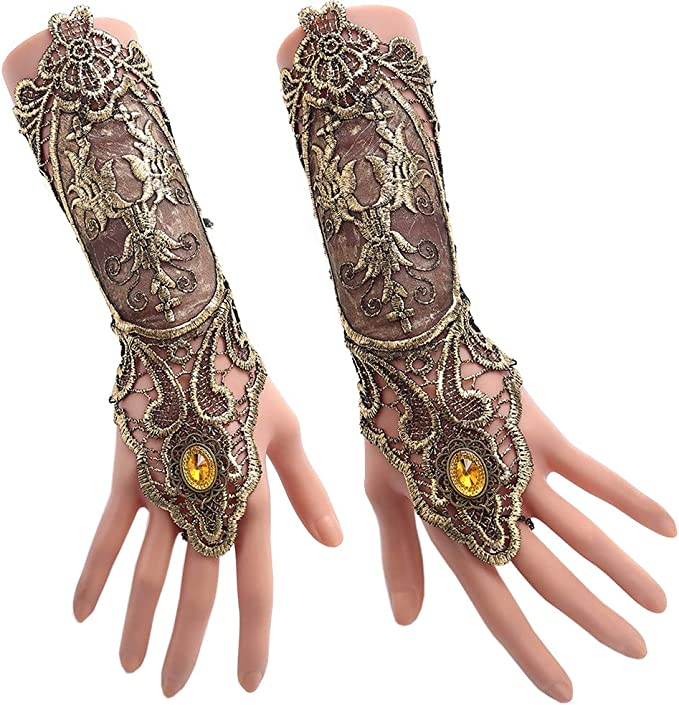 Vintage Style Gloves- Long, Wrist, Evening, Day, Leather, Lace Jurxy Bronzing Fingerless Gloves Women Gothic Floral Lace Steampunk Wristband Ring Vintage Beaded Handmade Lace Up Gloves Bridal Bracelet Ring Set - 1 Pair - Small Size  AT vintagedancer.com