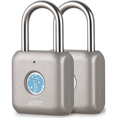 ATITI 南京錠 指紋認証 タッチロック 指紋ロック 快速認証 20枚指紋登録可能 小型 USB充電式 盗難防止 防水 防犯用 グレー (2個)