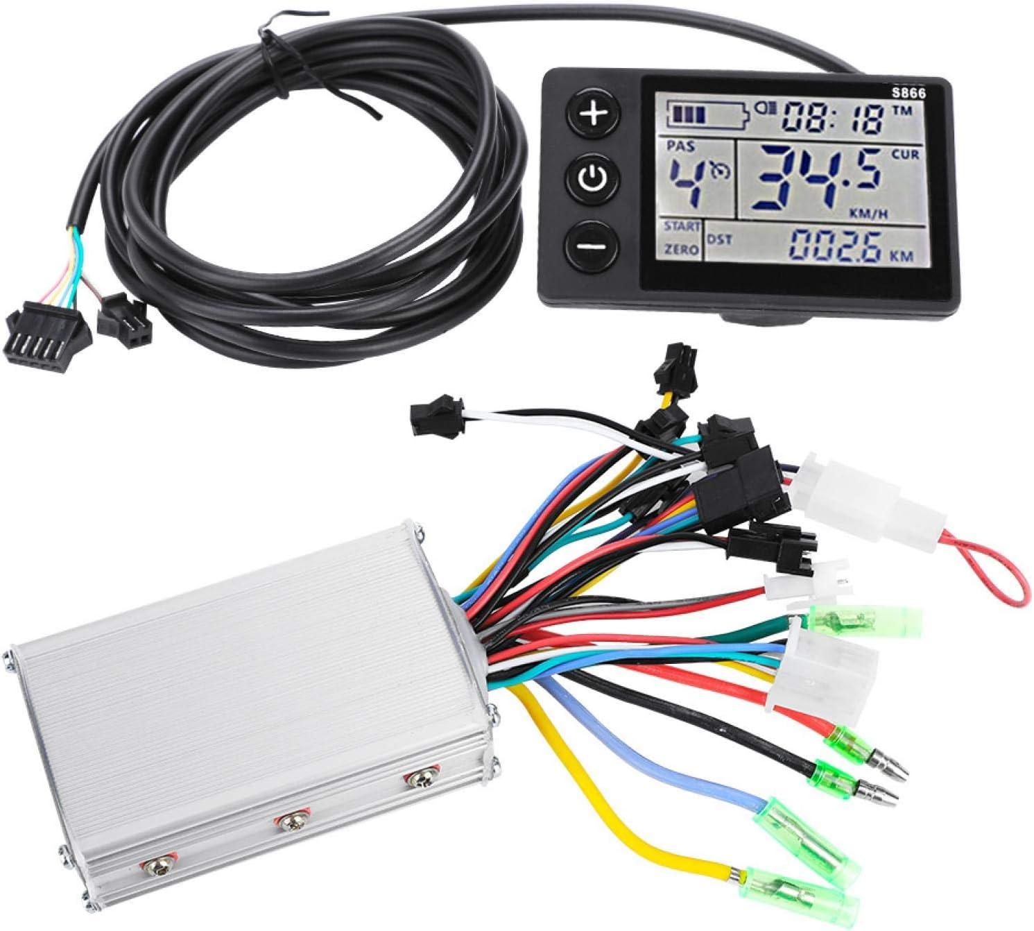 Eatbuy Controlador de Motor - 24V-48V Panel de Pantalla LCD Impermeable Kit de Controlador sin escobillas para Scooter de Bicicleta eléctrica(24V/36V 350W)