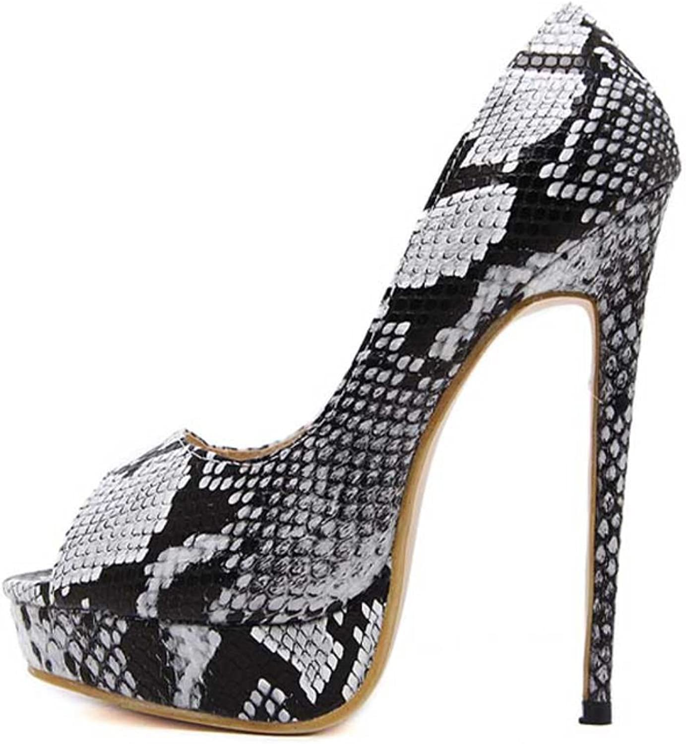 Eilyken Snake Printed c Pumps shoes Sexy High Heels New Spring Peep Toe Party Women Pumps shoes