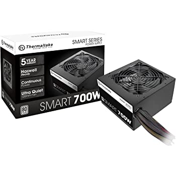 Thermaltake Smart 700W 80+ White Certified PSU, Continuous Power with 120mm Ultra Quiet Fan, ATX 12V V2.3/EPS 12V Active PFC Power Supply PS-SPD-0700NPCWUS-W