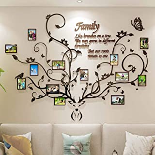 DecorSmart Antlers Family Tree Wall Decor for Living Room, 3D Removable Picture Frame Collage DIY Acrylic Stickers with De...