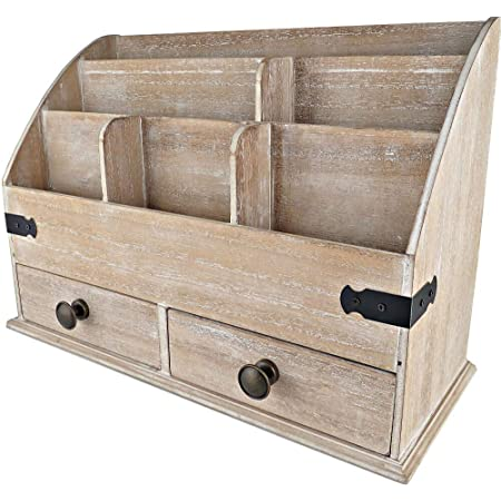 25DOL Mini-Hutch Large Wooden Desk Organizer with Drawers. Rustic Office Decor, Desk Accessories and Office Supplies. 6 Compartment Mail Organizer, File Organizer for Folders, Pen Holder and Drawers