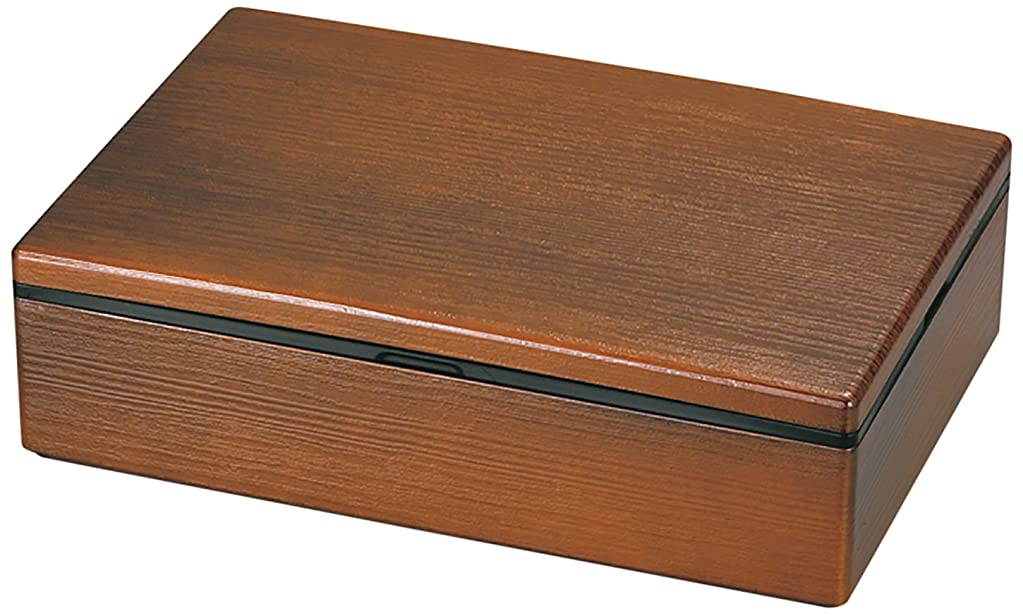 食事を調理する凍結記念日山中塗 木目 長角 一段重 9.5 (中子6個付) ライトブラウン M16821-1