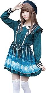 JillpunkオリジナルスタイルKERA 真夏夜の夢銀河星座尖ったカラーシャツドレス ロリタレディース