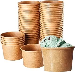 Ice Cream Sundae Cups (100 Pack) Disposable Kraft Paper Dessert Frozen Yogurt Bowls 8-Ounce, Brown
