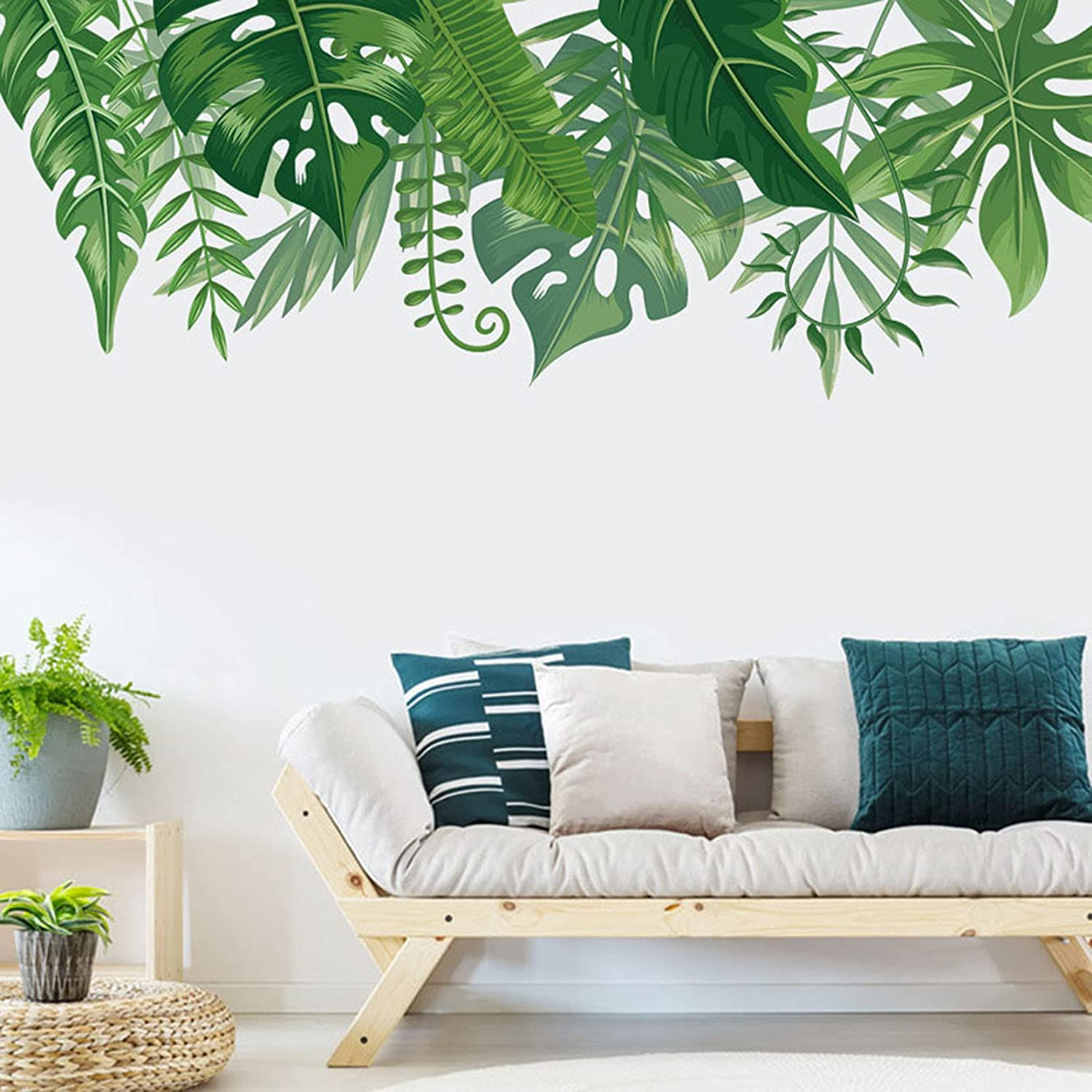 Tropical Leaves Wall Stickers, Palm Tree Wall Decals, Green Leaves Wall Paper, Removable Vinyl Peel and Stick Art Murals for Living Room TV Background Bedroom, Girls Room, Nursery Office