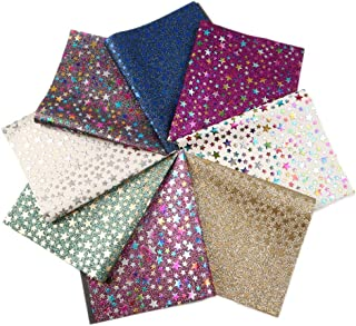 David accessories Gold Foil Glitter Star Pattern Printed Faux Leather Sheets Felt Back 8 Pcs 8