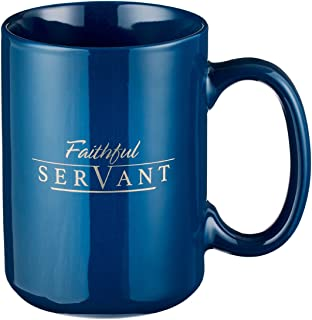 Christian Encouragement Gifts for Men - Faithful Servant Coffee Cup w/ 2 Chronicles Scripture Verse Navy Coffee Mug for Men (14-Ounce Ceramic)