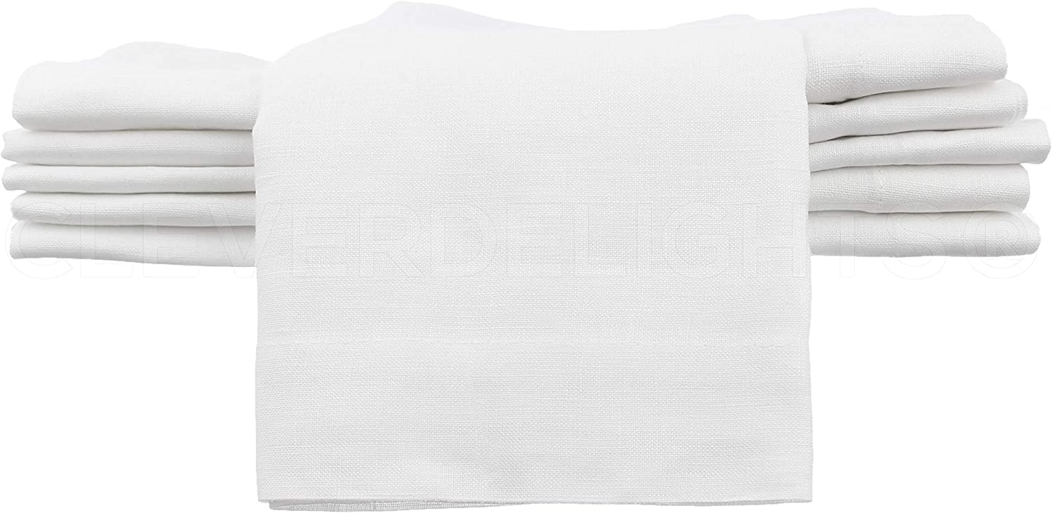 CleverDelights 12 Pack White Linen Napkins Max 77% Cheap super special price OFF - 20