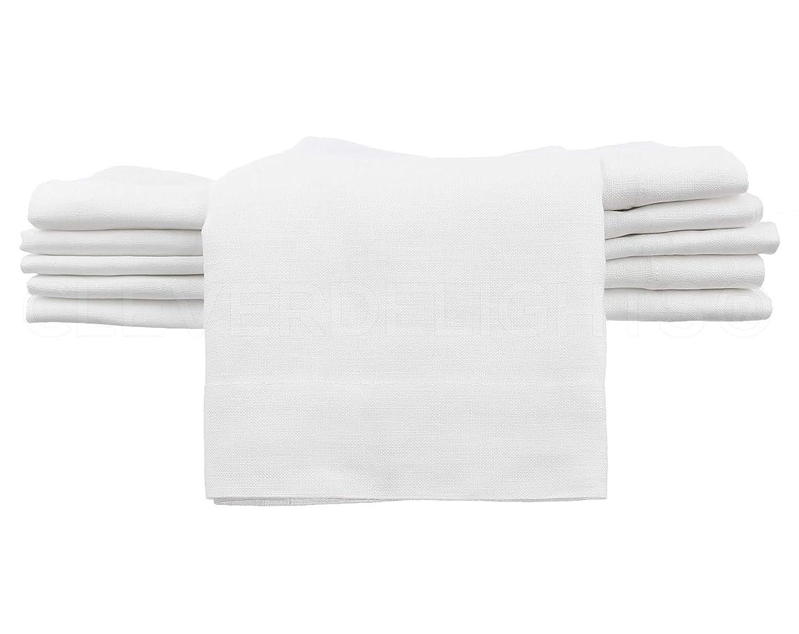 CleverDelights 12 Pack White Linen Dinner Napkins - 20