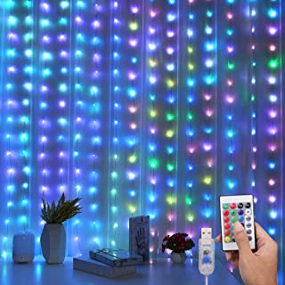 AMIR Upgraded Curtain String Lights, 200 LED 16 Colors Rainbow Backdrop Window Lights, USB Powered 4 Lighting Modes Waterproof Decorative Lights for Wedding, Home, Party, Bedroom (3.28 x 6.56Ft)