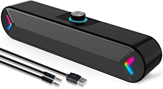 LENRUE Computer Speakers,Wired USB-Powered PC Speakers with 10W Stereo Sound,Gaming Sound-bar Speakers for PC Desktop Comp...
