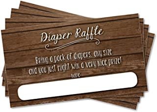 25 Diaper Raffle Ticket Inserts for Baby Shower Sprinkle Invitations, Rustic Dark Wood Background