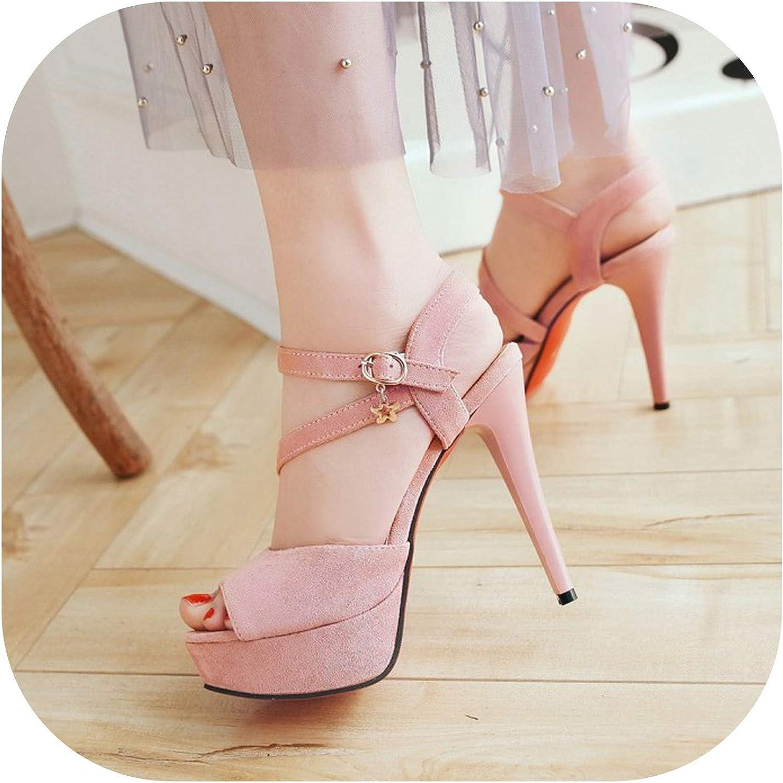 Summer Women's Sandals Fashion High Heel Waterproof Platform Fine Heel Fish Mouth Women's shoes,2,7