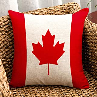 Canada Maple Flag – Square Burlap Cotton Linen Throw Pillow Case Shell Cushion..
