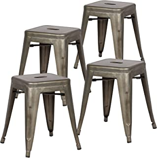 Poly and Bark Trattoria 18 Inch Metal Side Dining Chair and Bar Stool in Bronze (Set of 4)