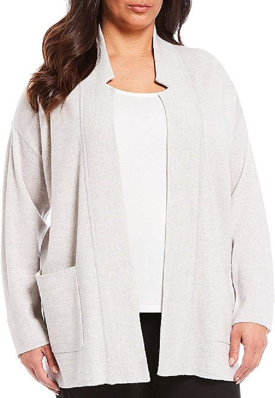 New item Eileen Fisher Plus Pearl Merino Cardigan Size Notch Fashion Blend Collar