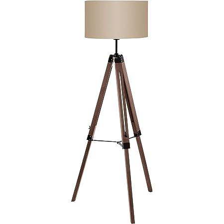 EGLO Lampadaire LANTADA, lampe de sol à flamme, vintage, moderne, lampe sur pied en bois, en acier et en textile, lampe de salon marron foncé et taupe, lampe avec interrupteur, douille E27