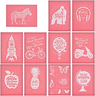 YeulionCraft Self-Adhesive Silk Screen Printing Stencil Mesh Transfers for DIY T-Shirt Pillow Fabric Painting Paper Decoration (11PCS)